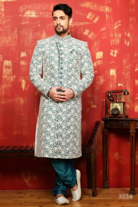 CREAM,GOLDEN,BLUE COLOUR RAVISHING GROOM SHERWANI