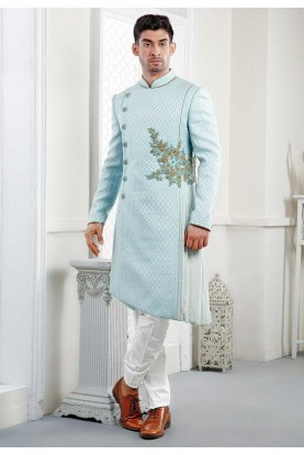 Buy exclusive designer sherwani in Sky Blue