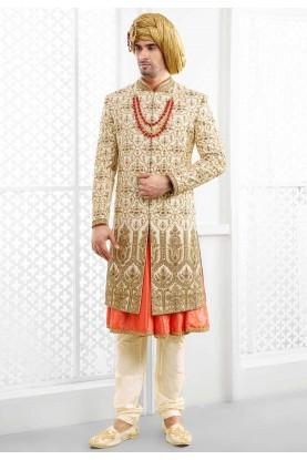 Buy designer sherwani in Cream colour For Men