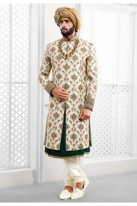 Buy designer sherwani in off white colour