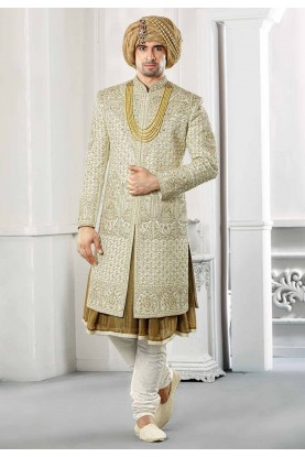 Buy designer hard work sherwani for groom