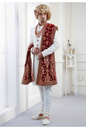 Buy embroidered designer sherwani With Heavy Dupatta