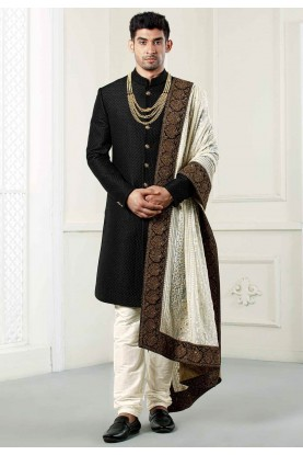 Buy designer Quilted sherwani in Black colour