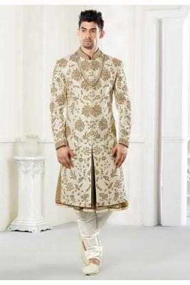 Buy Attractive designer sherwani in cream colour