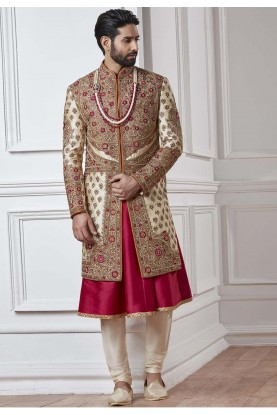 Cream,Golden Color Designer Sherwani.