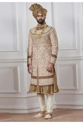 Exclusive Golden Color Designer Sherwani.