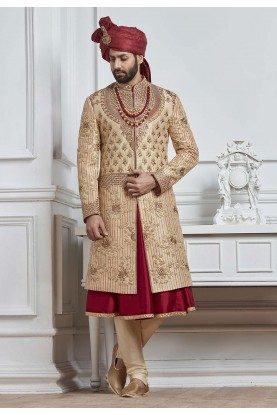 Golden,Maroon Color Wedding Sherwani.