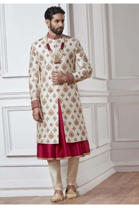 White,Cream Color Silk Sherwani.