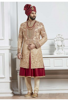 Golden,Maroon Color Indian Wedding Sherwani.