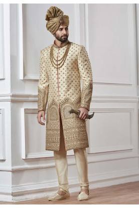 Cream,Golden Color Indian Sherwani.