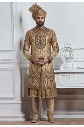 Golden Color Wedding Sherwani.