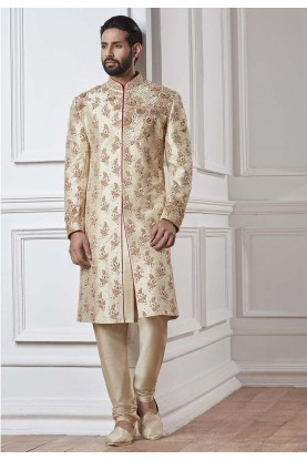 Cream Color Silk Sherwani.