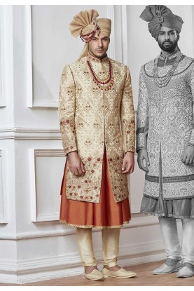 Golden,Cream Color Indian Wedding Sherwani.