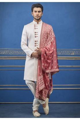 Quilted Designer Men's Indowestern Cream Colour.