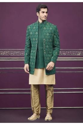 Silk Designer Indowestern Green Colour.