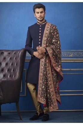 Blue Colour Designer Wedding Indowestern.