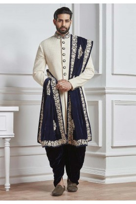 Fabulous White Color Designer Sherwani.