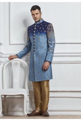 Blue Color Designer Indowestern.