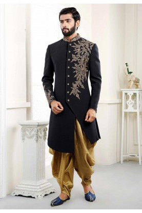 Embroidered Black Indowestern