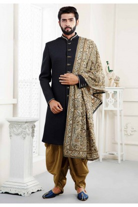 Buy designer sherwani in Black Colour