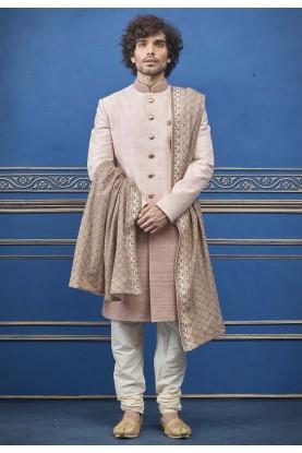 Peach,Cream Colour Jacquard Men's Indowestern.