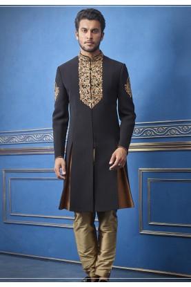 Exclusive Designer Men's Indowestern Black Colour.