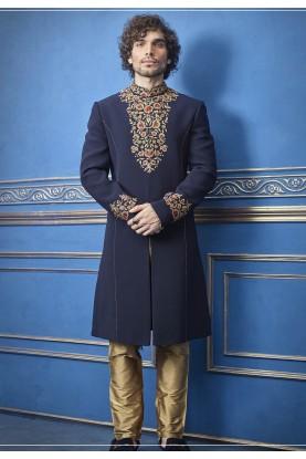 Blue Color Indian Designer Indowestern For Men