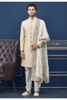 Cream Colour Men's Wedding Indo Sherwani.