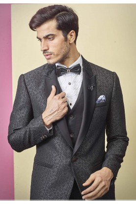 Black Colour Men's Three Piece Suit.