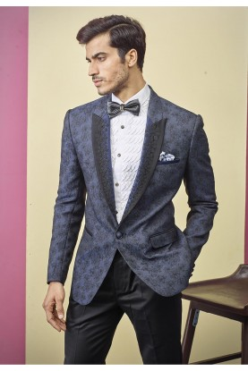 Indian Designer Tuxedo Suit Blue Colour.