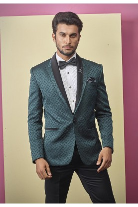 Textured Designer Tuxedo Suit Green Colour.