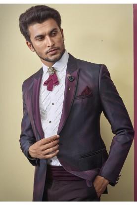 Fabulous Designer Tuxedo Suit Wine Colour.