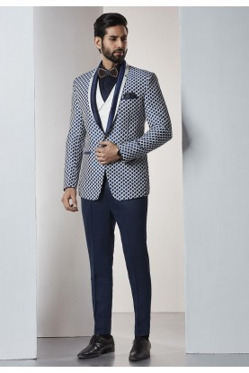 Designer Suits for Men Black,White Color Party Wear Tuxedo Suit
