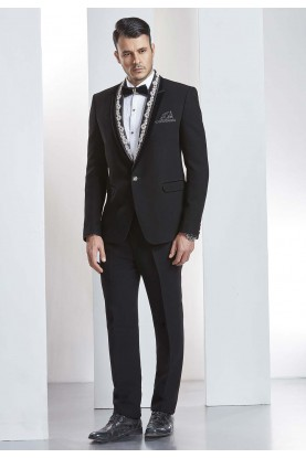 Buy designer suits for men in elegant black Color