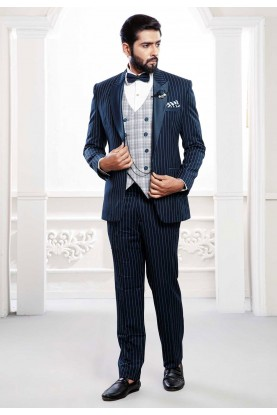 Buy designer party wear suits for men in blue colour