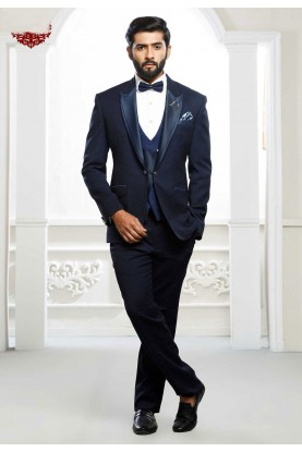 Buy designer suits for men in blue colour for wedding