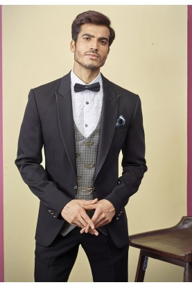 Designer Tuxedo Suit Black Colour.