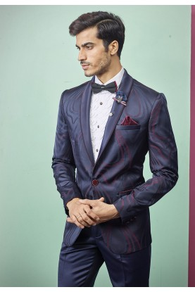 Blue Colour Men's Tuxedo Suit.