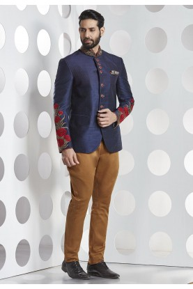 Buy silk designer suits for men in blue color