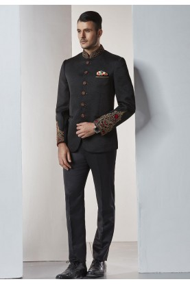 Buy designer suits for men in black color online