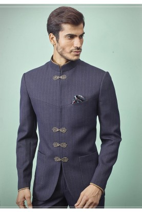 Men's Designer Jodhpuri Suit Grey,Blue Colour.