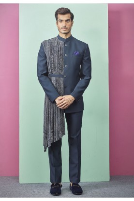 New Stylish Designer Jodhpuri Suit Blue Colour.