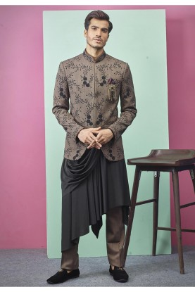 Exclusive Designer Jodhpuri Suit Brown Colour.