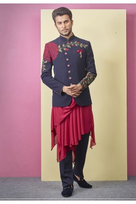 Elegant Look Blue Colour Designer Jodhpuri Suit.