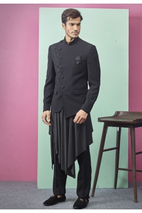 Black Colour Party Wear Designer Jodhpuri Suit.