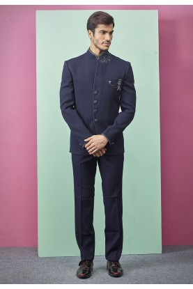 Stylish Designer Jodhpuri Suit Blue Colour.