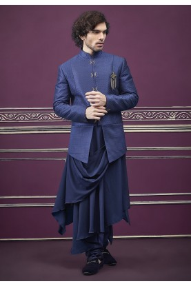 Blue Colour Men's Jodhpuri Suit.