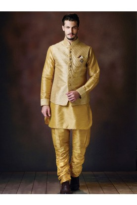 Buy Golden Kurta pajama with jacket