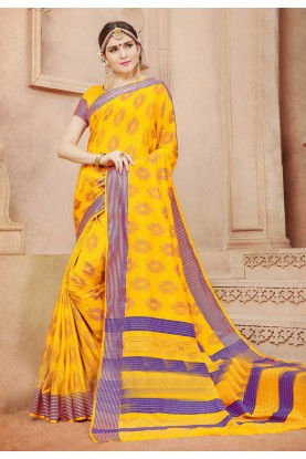 Yellow Color Wonderful Plain Pallu Saree in Cotton Silk
