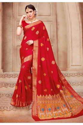 Wonderful Fancy Pallu Saree in Red Color